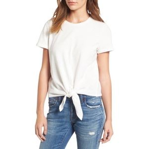 Madewell Texture & Thread Tie Front White Top S